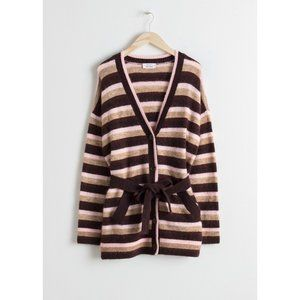& Other Stories Long Striped Belted Cardigan